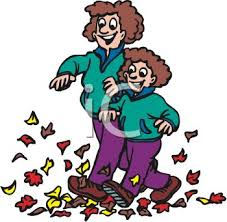 Picture of a Mom and Daughter Walking Through a Pile of Leaves Royalty Free Clip Art Image