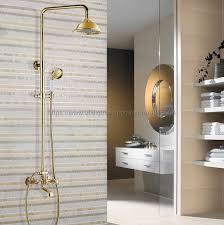 gold farbe messing wand halterung badezimmer dusche wasserhahn doppel griff badewanne dusche mischer mit handbrause ngf353