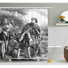 Victorian Shower Curtain Vintage Newspaper Illustration Of King Canute Ancient Civilizations Middle Ages Fabric