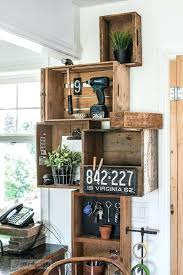 Crate Wall Stacked Vintage Crates And A Reclaimed Wood Shelf For Rustic Kitchen Phone Station