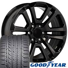 100 Black And Chrome Rims For Trucks 20x9 Wheels Tires Fit GMC And SUVs GMC Sierra Style PVD