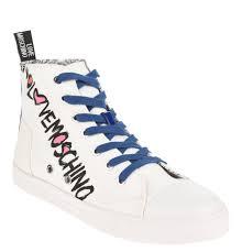 Love Moschino Schuhe Sneaker Hoher Schaft Schrift Print Reissverschluss Weiss VCUYRV