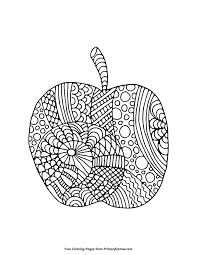 Fall Coloring Page Apple Zentangle PagesFree PrintableAdult