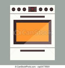 Illustration Of Stove Gas Oven With Front View Flat And Solid Color Illustrated Vector