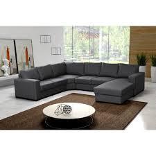 canap d angle bois et chiffon grand canapé d angle 6 places oara gris achat vente canapé