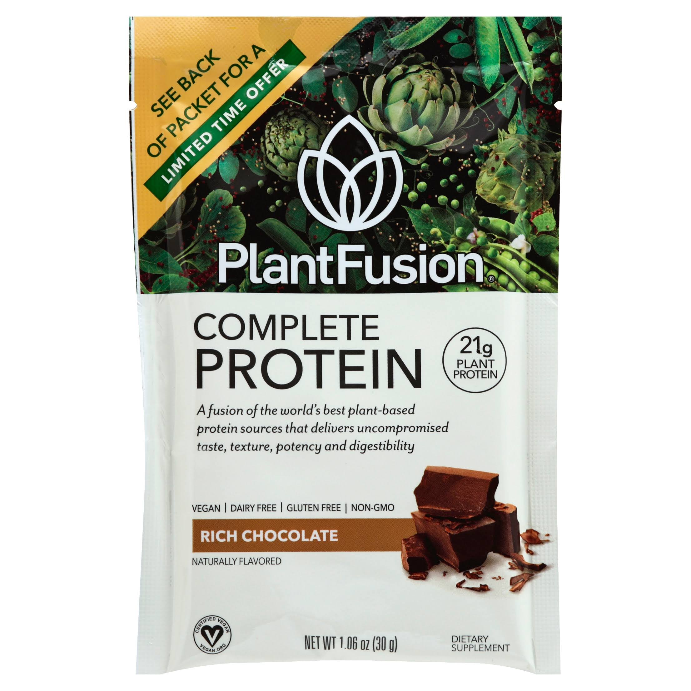 PlantFusion Protein Powder Packets, Chocolate - 12 count, 1.06 oz each