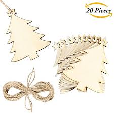 Aneco 20 Pack Wooden Christmas Tree Cutouts Embellishments Hanging With Crafts Twines