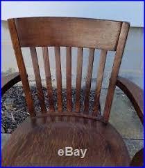 antique tiger oak office bankers lawyer teacher wood swivel desk chair