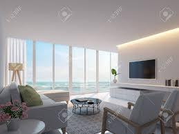 modernes weißes wohnzimmer mit meerblick 3d rendering bild dekorieren wand mit versteckten warmen licht weiße möbel es gibt große fenster blick auf