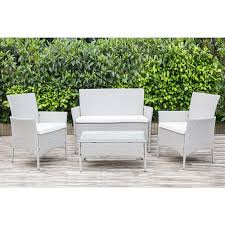 four grey rattan garden furniture set
