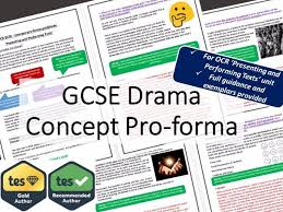 OCR GCSE Drama Concept Pro Forma Guidance Booklet By Ajs12345