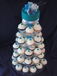 Ming Peacock Blue Wedding Cupcake Tower