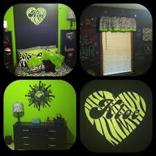 Preteen Room Lime Green And Zebra Print With Chalkboard Wall