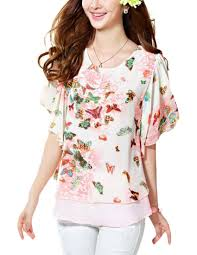 Women Bohemian Chiffon Butterfly Print Flare and Fit Dolman Blouse