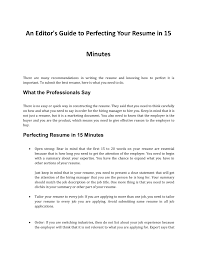 How To Perfect Your Resume In 15 Minutes Pages 1 - 4 - Text ... 5 Popular Resume Tips You Shouldnt Follow Jobscan Blog 50 Spiring Resume Designs To Learn From Learn Make Your Cv With A Template On Google Docs How Write For The First Time According 25 Artist Sample Writing Guide Genius It Job Greatest Create A Cv An Experienced Systems Administrator Pick Best Format In 2019 Examples To Present Good Ceaf E 15 Of Templates Microsoft Word Office Mistakes Youre Making Right Now And Fix Them For An Entrylevel Mechanical Engineer