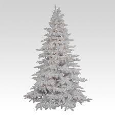 Flocked White Spruce Full Pre Lit Christmas Tree