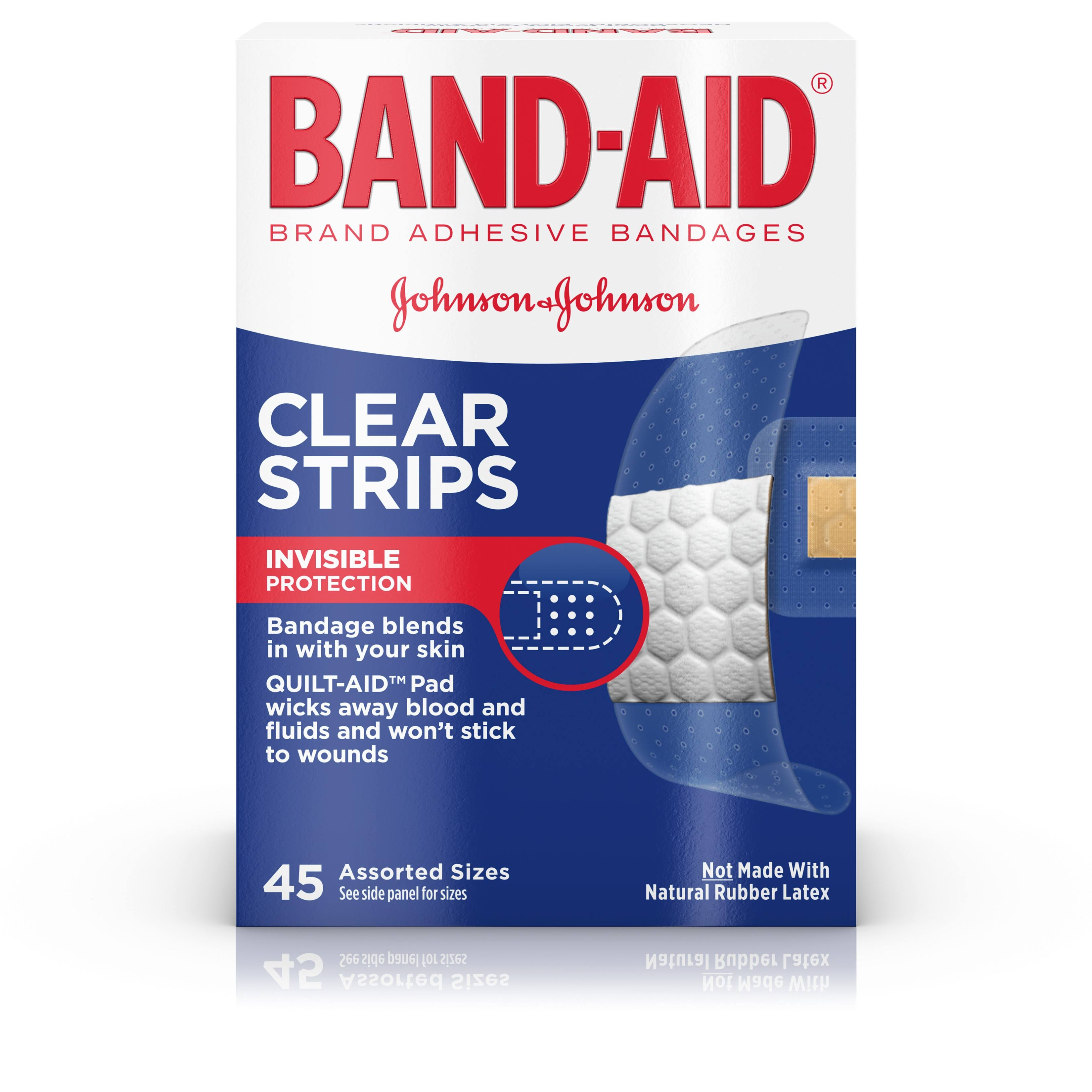Band-Aid Clear Strips Adhesive Bandage - 45ct