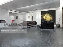Slate Tile Floor In Modern Living Room