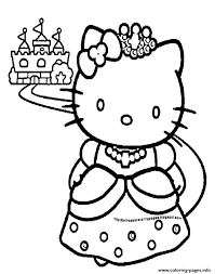 Print Princess Hello Kitty Coloring Pages