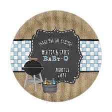 Baby Q Shower Decor Rustic Chalkboard Blue Paper Plate