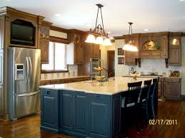 riveting large kitchen island with seating and a pair of 3 light