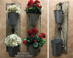 Wall Planter Outdoors Antique White Red Flower Pot Herb Garden Holder Distressed Rustic Wood Sconce With