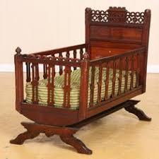Antique Victorian Walnut Rocking Cradle Bed Crib Childs baby