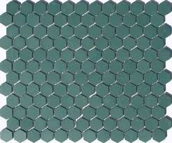 lyric unglazed porcelain hexagon mosaic tile in hemlock green