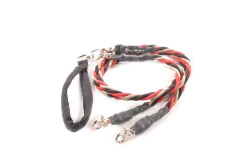 Bungee Pupee Double Pet Dog Leash - Large, Red/Black/Gold, 4'