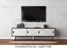 wohnzimmer mit leerem tv monitor fernseher mit leerem
