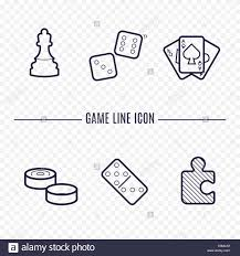 Games Linear Icons Chess Dice Cards Checkers And Other Board Game Thin Signs Outline Concept For Websites Infographic