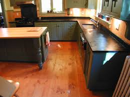 Attractive Grey Painted Farmhouse Kitchen Cabinets And Black Concrete Countertop Also Rectangle Distressed Island On Wood Floors Installation Ideas