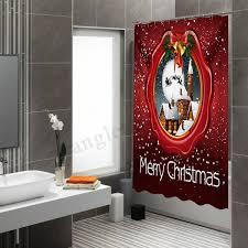 Meco 3D Waterproof Fabric Shower Curtain Bathroom Hooks Set