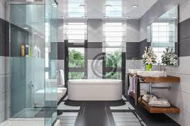 fototapete modernes badezimmer in weiß und schwarz mit dusche badewanne