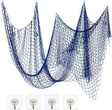 zerhok foto hängende wanddekoration fischernetz deko mit muscheln diy bilderrahmen netz maritime stil für schlafzimmer restaurant bar blau