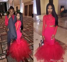 red long sleeves two pieces lace mermaid prom dresses 2k17 organza