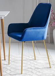 2 x esszimmerstuhl polsterstuhl blau samt armlehnen messing