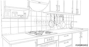 Small Kitchen Area With Utensils And Tile Splash Back Outline Perspective Drawing