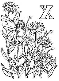 Letter X Alphabet Fairy Sitting On Blooming Flower Coloring Pages