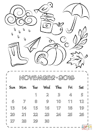 Click The November 2016 Calendar Coloring Pages