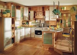 Cool U Shape Kitchen Decoration Using White Wood 1960s Cabinet Including Solid Light Oak Flooring And Vent Hood
