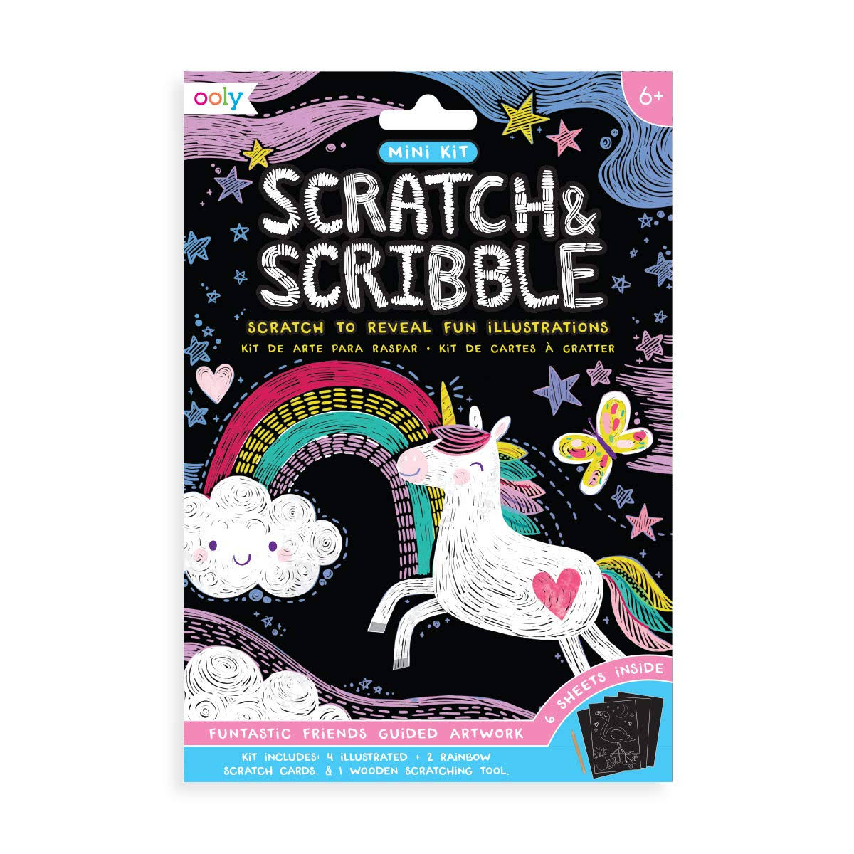 Ooly Mini Scratch & Scribble Art Kit: Funtastic Friends