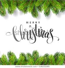 Christmas Tree Branches Border With Handwriting Lettering Vector Illustration