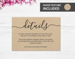 Wedding Details Printable Card On Kraft Paper Background Customizable DIY
