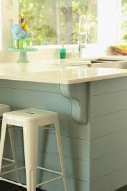 Diy Planked Blue Aqua Kitchen Island In A White Coastal The Happy Housie On
