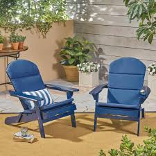 Noble House Malibu Navy Blue Folding Wood Adirondack Chairs With Navy Blue  Cushions (2-Pack)
