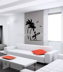 coconut tree vinyl wall decal beach palms and surfing wall