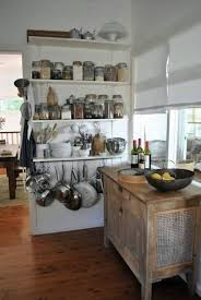 White Wall Shelves With Rustic Wooden Island For French Provincial Kitchen Ideas