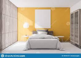 gelbes schlafzimmer mit plakat stock abbildung