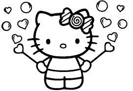 Valentine Day Hello Kitty Coloring Book Pages